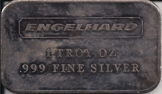 1 ounce (oz) Engelhard Siver Bar, Art Bar, No Serial Number, Obverse