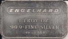 1 ounce (oz) Engelhard Siver Bar, Standard Logo, Logo Back, Obverse