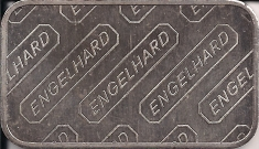 1 ounce (oz) Engelhard Siver Bar, Standard Logo, Logo Back, Reverse