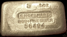 5 ounce (oz) Engelhard Silver Bar, 5-Digit, 'Fine Silver' Line, Poured, Obverse