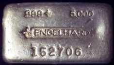 5 ounce (oz) Engelhard Silver Bar, 6-Digit, Bull Logo, Poured, Obverse