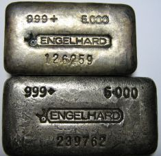 5 ounce (oz) Engelhard Silver Bar, 6-Digit, Bull Logo, Poured, 6cm vs 6cm