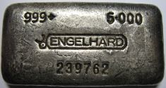 5 ounce (oz) Engelhard Silver Bar, 6-Digit, Bull Logo, 6cm, Poured, Obverse