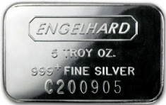 5 ounce (oz) Engelhard Silver Bar, C-Series, Stamped, Obverse