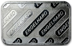 5 ounce (oz) Engelhard Silver Bar, C-Series, Stamped, Reverse