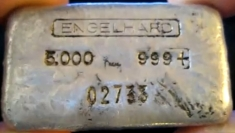 5 ounce (oz) Engelhard Silver Bar, 5-Digit, Logo on Top, Poured, Obverse
