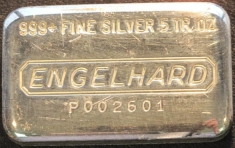 5 ounce (oz) Engelhard Silver Bar, P-Series, Poured, Obverse