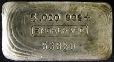 5 ounce (oz) Engelhard Silver Bar, 5-Digit Small Logo, Big Five, Poured, Obverse