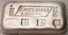 100 gram (g) Engelhard Silver Bar, London, Obverse