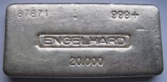 20 Ounce (oz) Engelhard Silver Bar, No Bull Logo, Serial Switched, Obverse