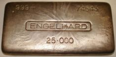 25 Ounce (oz) Engelhard Silver Bar, Big Logo, Obverse