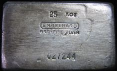 25 Ounce (oz) Engelhard Silver Bar, High Logo, Obverse