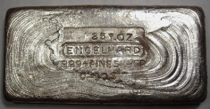 25 Ounce (oz) Engelhard Silver Bar, Low Logo, Obverse
