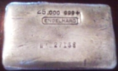 25 Ounce (oz) Engelhard Silver Bar, Old Style, Obverse