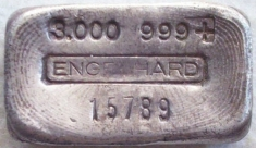 3 ounce (oz) Engelhard Silver Bar, Old Style, Obverse