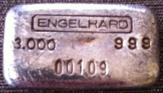 3 ounce (oz) Engelhard Silver Bar, Logo on Top, Obverse