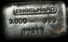 3 ounce (oz) Engelhard Silver Bar, Logo on Top, With Plus, Obverse