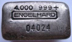 4 ounce (oz) Engelhard Silver Bar, Old Style, Logo in Middle, Obverse