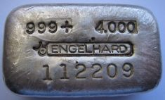4 ounce (oz) Engelhard Silver Bar, Old Style, Bull Logo in Middle, Obverse