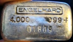 4 ounce (oz) Engelhard Silver Bar, Old Style, Obverse
