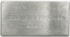 50 Ounce (oz) Engelhard Silver Bar, Triangle Logo, Obverse