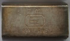 7 ounce (oz) Engelhard Silver Bar, Just 'E' logo, Obverse