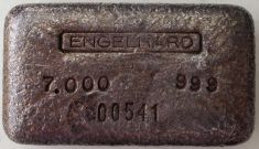 7 ounce (oz) Engelhard Silver Bar, Logo on Top, No Plus, Obverse