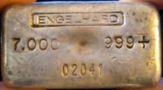 7 ounce (oz) Engelhard Silver Bar, Logo on Top, Obverse