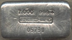 7 ounce (oz) Engelhard Silver Bar, Logo in Middle, Weight First, Obverse