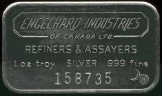 1 ounce (oz) Engelhard Canada Siver Bar, 6-Digit, Obverse