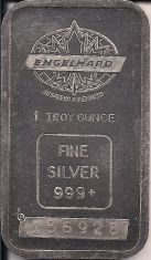 1 ounce (oz) Engelhard Siver Bar, Maple Logo, Obverse