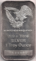 1 ounce (oz) Engelhard Siver Bar, Eagle/Flag Logo, Space in Fineness, Obverse