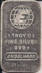 1 ounce (oz) Engelhard Siver Bar, Large E Logo, 6-Digit, Obverse