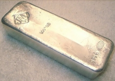 100-Ounce (oz) Johnson Matthey Silver Bar, Poured, No Serial Number, Obverse