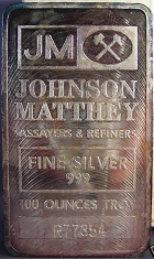 100-Ounce (oz) Johnson Matthey Silver Bar, Variety B, Obverse
