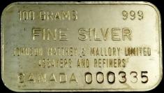 100-Gram (g) Johnson Matthey Silver Bar, Canada, Obverse