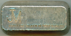 10-Ounce (oz) Johnson Matthey Silver Bar, 1960s, Obverse
