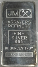 10-Ounce (oz) Johnson Matthey Silver Bar, Variety A, Obverse