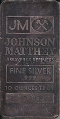 10-Ounce (oz) Johnson Matthey Silver Bar, Variety B, Obverse