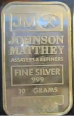 10-Gram (g) Johnson Matthey Silver Bar, JAMC, Obverse