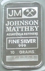 10-Gram (g) Johnson Matthey Silver Bar, NERCO, Obverse