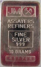 10-Gram (g) Johnson Matthey Silver Bar, Variety A, Obverse