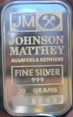 10-Gram (g) Johnson Matthey Silver Bar, Variety B, Obverse