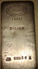 1-Kilogram (kg, kilo) Johnson Matthey Silver Bar, Poured, London, Obverse