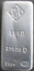 1-Kilogram (kg, kilo) Johnson Matthey Silver Bar, No Company Name, Poured, Obverse