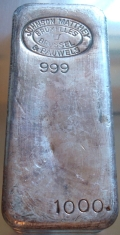 1-Kilogram (kg, kilo) Johnson Matthey & Pauwels Silver Bar, Poured, Obverse