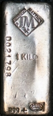 1-Kilogram (kg, kilo) Johnson Matthey Silver Bar, Poured, Obverse
