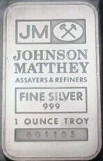1-Ounce (oz) Johnson Matthey Silver Bar, Apollo, Obverse