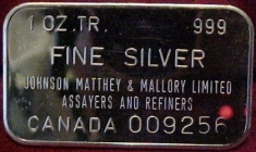 1-Ounce (oz) Johnson Matthey Silver Bar, Canada, Obverse