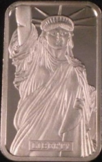 1-Ounce (oz) Johnson Matthey Silver Bar, Centerre, Obverse